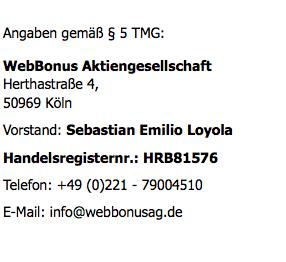 WebBonus-Impressum